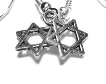 Silver Star of David Earrings - Hanukkah Jewelry - Magen David Jewelry - Jewish Jewelry 192