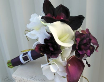 Plum Wedding bouquet real touch calla lily orchid bridesmaid bouquet