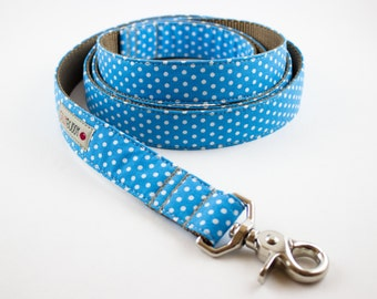 Blue Polka Dot Dog Leash