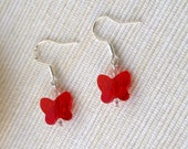 Red Swarovski Butterfly Dangle Earrings with Clear Crystals and Sterling Silver Ear Wires, Children, Women