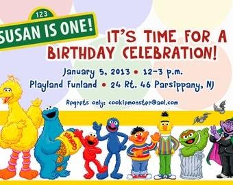 Sesame street invitations, grover, cookie monster invite, Big bird invitation, Sesame street party, Elmo invitation, Ernie birthday party