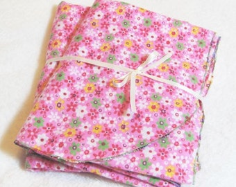 Set of Two (2) Flannel Swaddling Blankets - Pink Flower Receiving Blanket