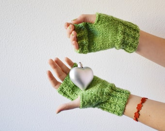 Fingerless gloves green Arm warmers Knit mittens for woman fingerless mittens