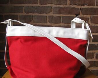 Vintage Red and White Shoulder Bag Purse