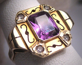 Antique Color Change Sapphire Ring Vintage Art Deco 30s