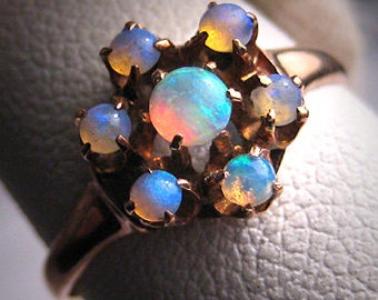 Antique Opal Ring Vintage Victorian Wedding Rose Gold