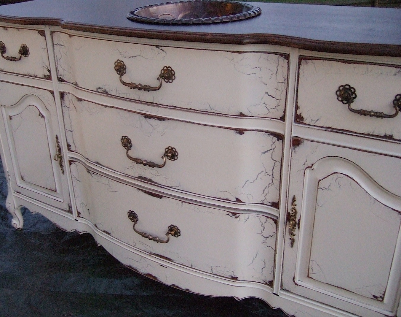 French Country Bathroom Vanities: Antiqued French Country Bathroom Vanity Cabinet In French