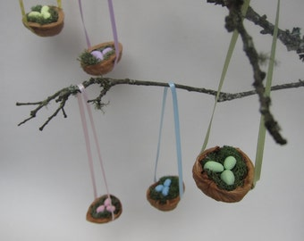 Set of 5 Easter Mini Eggs Bird Nest Ornaments - Easter Tree - Spring Decoration - Tabletop Display