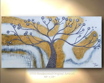 Abstract Painting Original Gold Tree of Life Flower Abstract Canvas Art Landscape Artwork Color Modern Contemporary Textured Art By OTO
