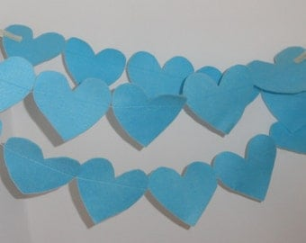 Blue felt heart garland , graduation party decoration , kids room  party ,Birthday bunting ,nursery decoration, Christmas decoration