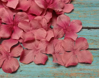 Artificial Flowers - 50 Hydrangea Blossoms in Mauve - Dry Look - Silk Flower Petals