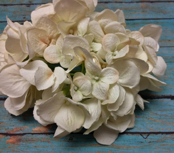 Silk Flowers - One Jumbo Artificial Hydrangea Head in Ivory with Blush Accents - Top Quality