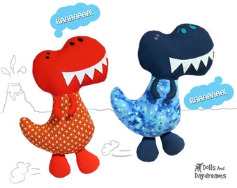 Dinosaur Sewing Pattern PDF T Rex Boy Softie DIY Plush