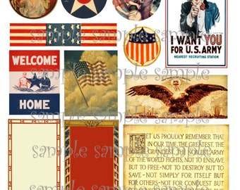 Patriot Digital Collage American Military Ephemera Scrapbooking ACEO ATC Printable Instand Download Decoupage Images Embellishments Tags