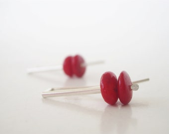 Modern red coral earrings