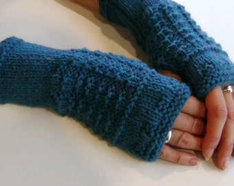 Fingerless Gloves / Mittens / Wrist Warmers in Deep Teal Green Aran Wool