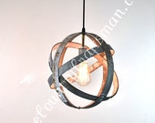 "ATOM -  ""Atom"" -  Small Wine Barrel Ring Hanging Lantern - 100% RECYCLED"