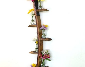"""CANDLE HOLDER - """"Aceras"""" - Triple Wave Wall Hanging Wine Barrel Candle/Flower Holders - 100% recycled"""