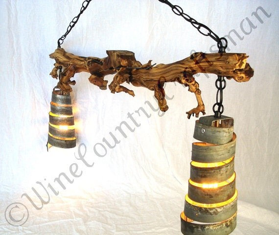 "OLD VINE  - ""Marsanne"" -  Chandelier - Grapevine and Wine Barrel Ring  Light  - 100% Recycled"