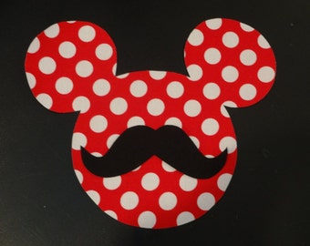 Iron On Polka Dot Mickey Mouse with Mustache Applique