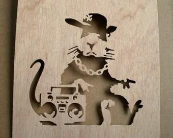 Banksy Hip Hop Rat  Wooden Stencil