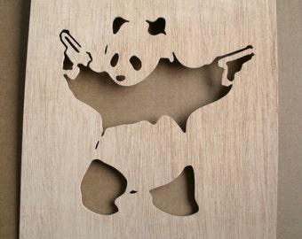 Panda With Guns Wooden Stencil
