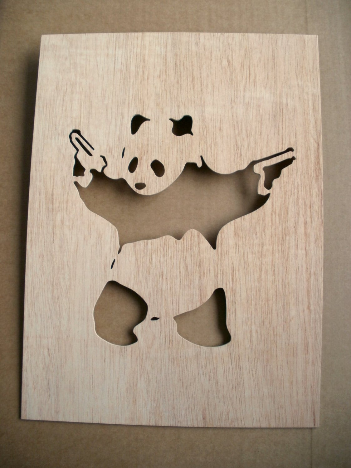 Panda With Guns Wooden Stencil