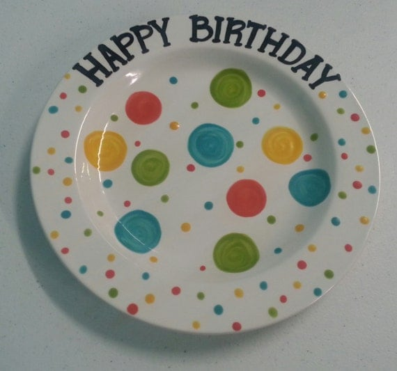 Hand Painted Ceramic Polka Dot Happy Birthday