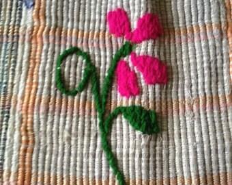 Vintage Retro Purse Bag Multi Colored Woven Cotton with Pink Flower Detail, Orange Plaid