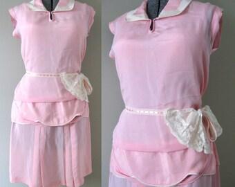 Powder Pink Vintage 20s Dress Great Gatsby Dress Boardwalk Empire Fashion Pastel Rose Strawberry Cream Light Silk Crepe Pleated Peplum Shift
