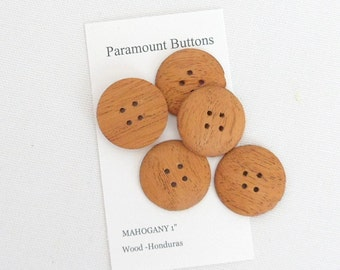 1 Inch Round Buttons Handmade  Mahogany Buttons ,  Set of 3