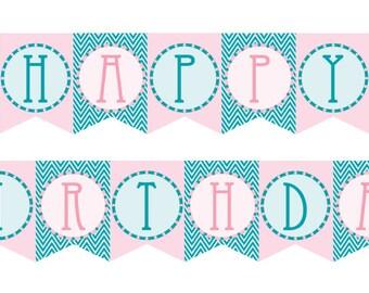 DIY Printable Vintage Mermaid Birthday Banner Instant Download