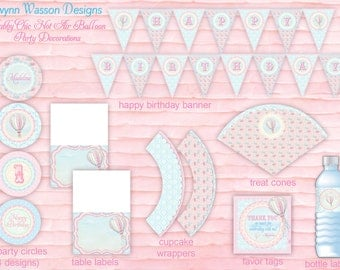Hot Air Balloon Party Decorations - PARTY PACKAGE - Up, Up and Away Shabby Chic Collection - Gwynn Wasson Designs PRINTABLES