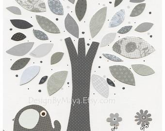Nursery Art Prints, Baby Room Decor, Nursery tree Art Deco, Kids Print, Baby Boy Nursery, gray and white, Taylor, Wendy Bellissimo Hudson