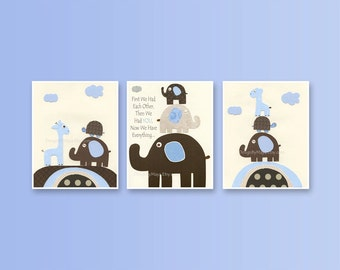 Baby boy nursery art, Nursery print, Baby elephant...First we had, set of 3 nursery prints 8x10, match to jake bedding