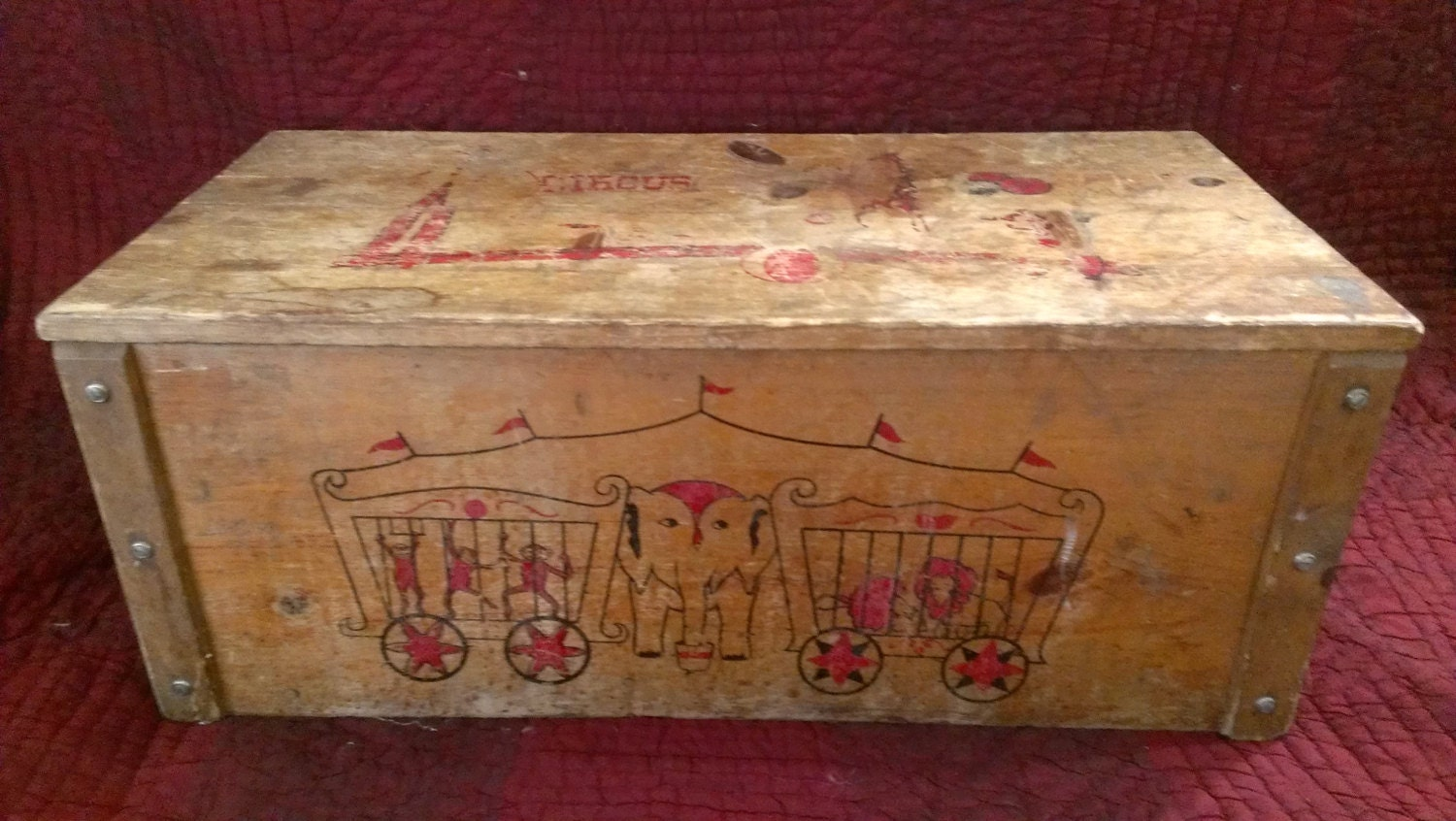 Antique Wooden Child S Circus Toy Box