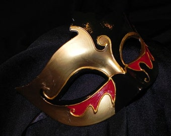 Black, Red, and Gold Venetian Mask