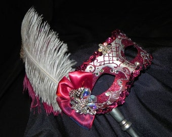 Feather Masquerade Mask in Burgundy and Silver with Attached Silver Stick