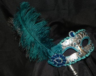 Custom Mask - Teal and Silver Feather Masquerade Mask