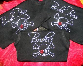 1 Bride's Posse half LACE Tank Top Shirts. Skull Cross Bones Bride Shirt. Bridal Party Tank Top. Bridesmaid. Bride's Crew, Bridal Party .