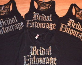 Bridesmaid Shirts set of 10 . Bridal Entourage Half lace tank tops . Bride To Be . Maid Of Honor. Matron of Honor. - fuchsia , black