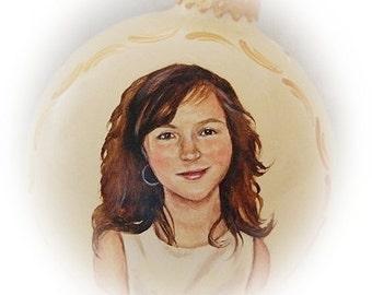 Custom portrait christmas ornament,  realistic Children portraits on 4 inch glass ornaments - hand painted Christmas ornaments