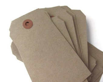 """25 Recycled Kraft Brown Tags - Large Shipping / Parcel Tags - Blank - Cardstock - 4 3/4"""" x 2 3/8"""" - Eco Friendly Packaging - Plain - 4.75"""""""
