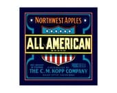 Small Journal - All American Apples  - Fruit Crate Art Print Cover