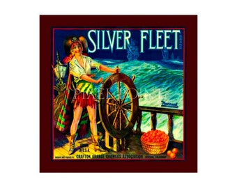 Blank Journal - Silver Fleet Oranges - Fruit Crate Art Print Cover