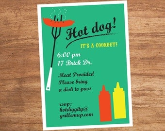 Hot Dog Custom Cookout Printable Party Invitation