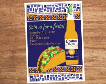 Mosaic Mexican Food Taco Fiesta Party Invitation