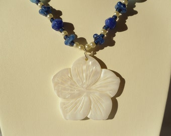 Blue and White Glass Beaded Necklace with Shell Flower Pendant