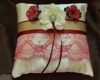 ring bearer pillow ivory satin, pink lace and flowers