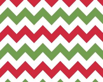 Riley Blake Fabric - Half Yard of Medium Chevron in Christmas
